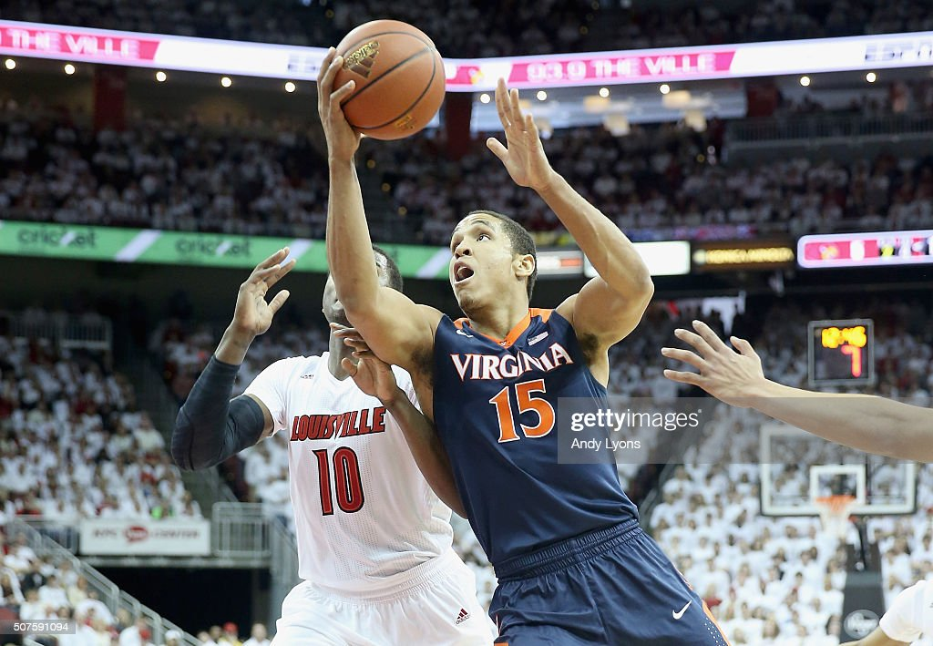 <a gi-track='captionPersonalityLinkClicked' href=/galleries/search?phrase=Malcolm+Brogdon&family=editorial&specificpeople=8768599 ng-click='$event.stopPropagation()'>Malcolm Brogdon</a> #15 of the Virginia Cavaliers shoots the ball during the game against Louisville Cardinals at KFC YUM! Center on January 30, 2016 in Louisville, Kentucky.