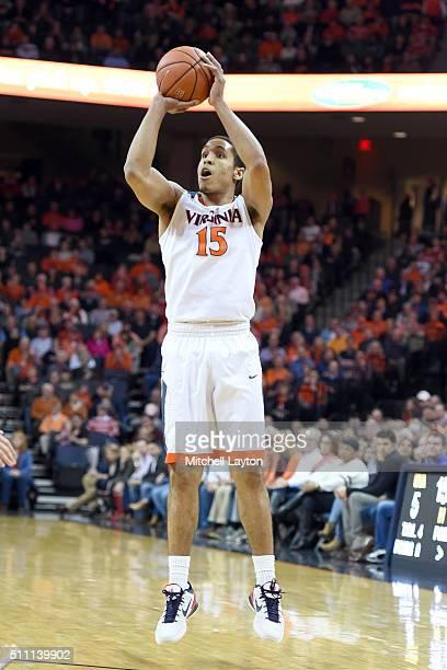 Malcolm Brogdon of the Virginia Cavaliers takes a jump shot during a college basketball game against the Virginia Tech Hokies at John Paul Jones...