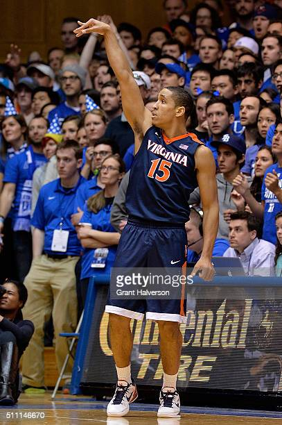 Malcolm Brogdon of the Virginia Cavaliers watches his shot against the Duke Blue Devils during their game at Cameron Indoor Stadium on February 13...