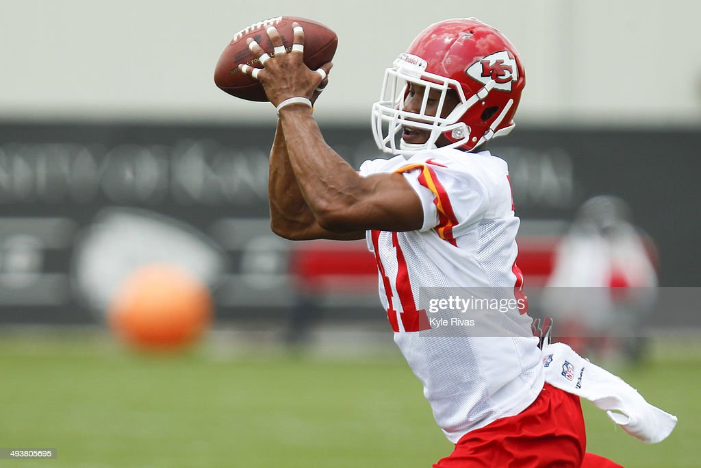 Malcolm Bronson #41 of the Kansas City Chiefs participates in drills during the Rookie Minicamp May 25, 2014 at the Chiefs Training Facility in Kansas City, Missouri.