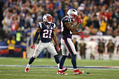 Malcolm Butler and Patrick Chung of the New England Patriots react after a missed field goal by the Pittsburgh Steelersat Gillette Stadium on...