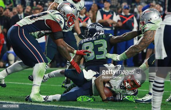 Malcolm Butler falls to the ground after late fourth quarter interception The New England Patriots plays against the Seattle Seahawks Sunday Feb 1...