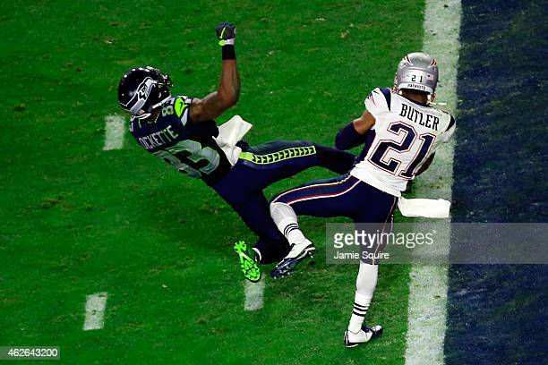 Malcolm Butler of the New England Patriots intercepts a pass by Russell Wilson of the Seattle Seahawks intended for Ricardo Lockette late in the...