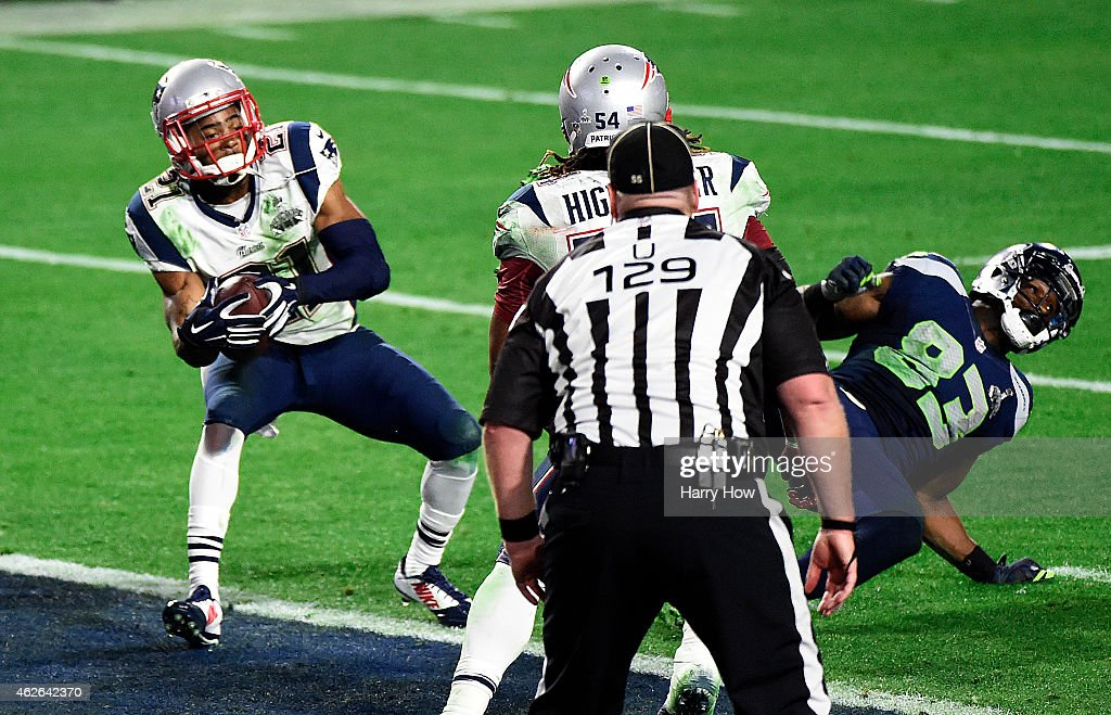 Malcolm Butler of the New England Patriots makes an interception against the Seattle Seahawks in the fourth quarter during Super Bowl XLIX at...