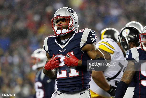 Malcolm Butler of the New England Patriots reacts against the New England Patriots during the first quarter in the AFC Championship Game at Gillette...