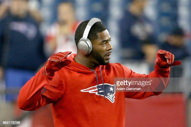 Malcolm Butler of the New England Patriots reacts as he warms up before a game against the Atlanta Falcons at Gillette Stadium on October 22 2017 in...