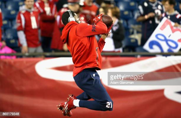 Malcolm Butler of the New England Patriots warms up before a game against the Atlanta Falcons at Gillette Stadium on October 22 2017 in Foxboro...