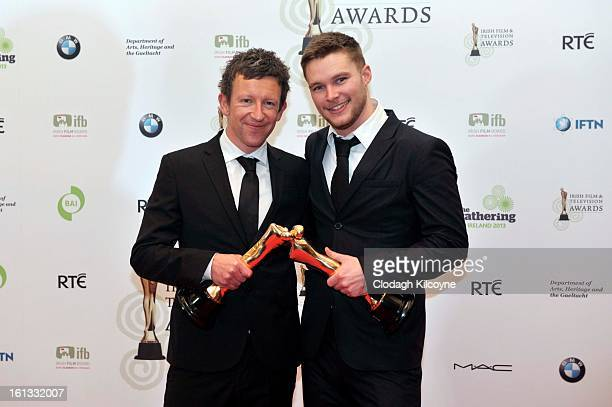 Malcolm Campbell and Jack Reynor poses in the Press Room at the Irish Film and Television Awards at Convention Centre Dublin on February 9 2013 in...
