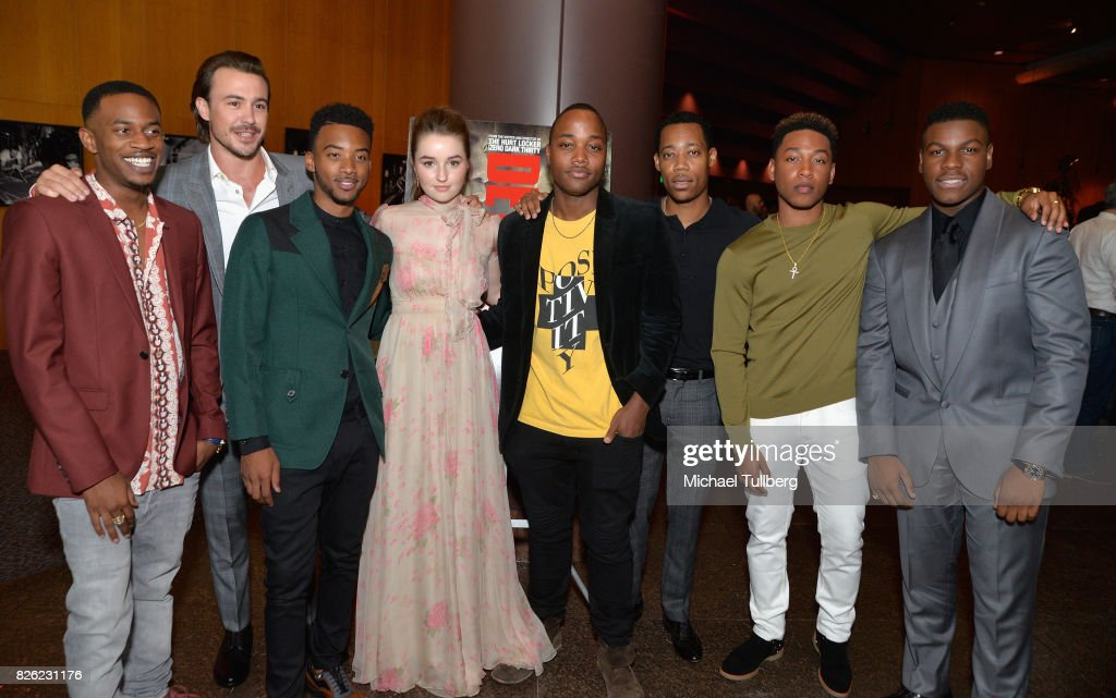Malcolm David Kelley, Ben O'Toole, Algee Smith, Kaitlyn Dever, Leon Thomas, Tyler James Williams, Jacob Latimore and John Boyega attend a special screening of 'Detroit' hosted by Annapurna Pictures at the Directors Guild of America on August 3, 2017 in Los Angeles, California.