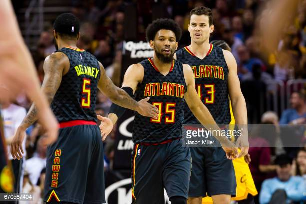Malcolm Delaney DeAndre' Bembry and Kris Humphries of the Atlanta Hawks celebrate after scoring during the first half against the Cleveland Cavaliers...