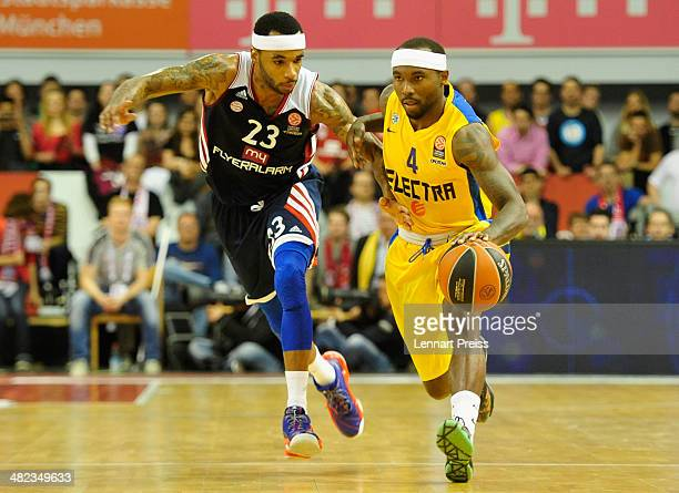 Malcolm Delaney of Munich challenges Tyrese Rice of Tel Aviv during the Turkish Airlines Euroleague Top 16 Round 13 Group F basketball match between...