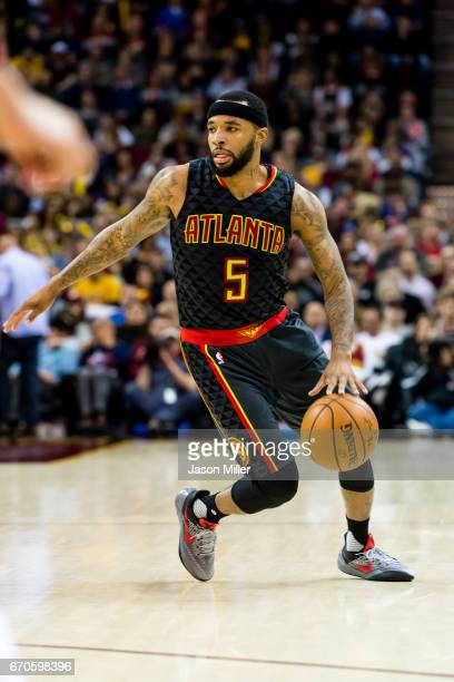 Malcolm Delaney of the Atlanta Hawks drives to the basket during the second half against the Cleveland Cavaliers at Quicken Loans Arena on April 7...