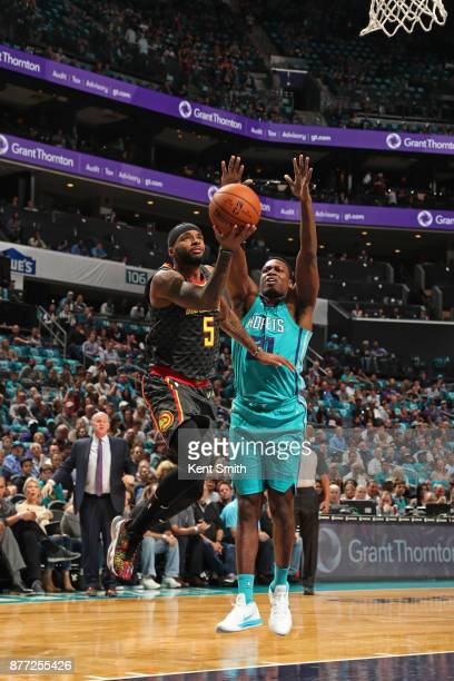 Malcolm Delaney of the Atlanta Hawks goes to the basket against the Charlotte Hornets on October 20 2017 at Spectrum Center in Charlotte North...