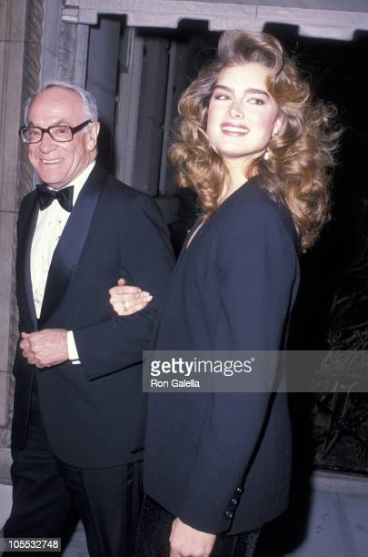 Malcolm Forbes and Brooke Shields during Ann Getty Apartment Party February 16 1989 at Ann Getty's 5th Avenue Apartment in New York City New York...