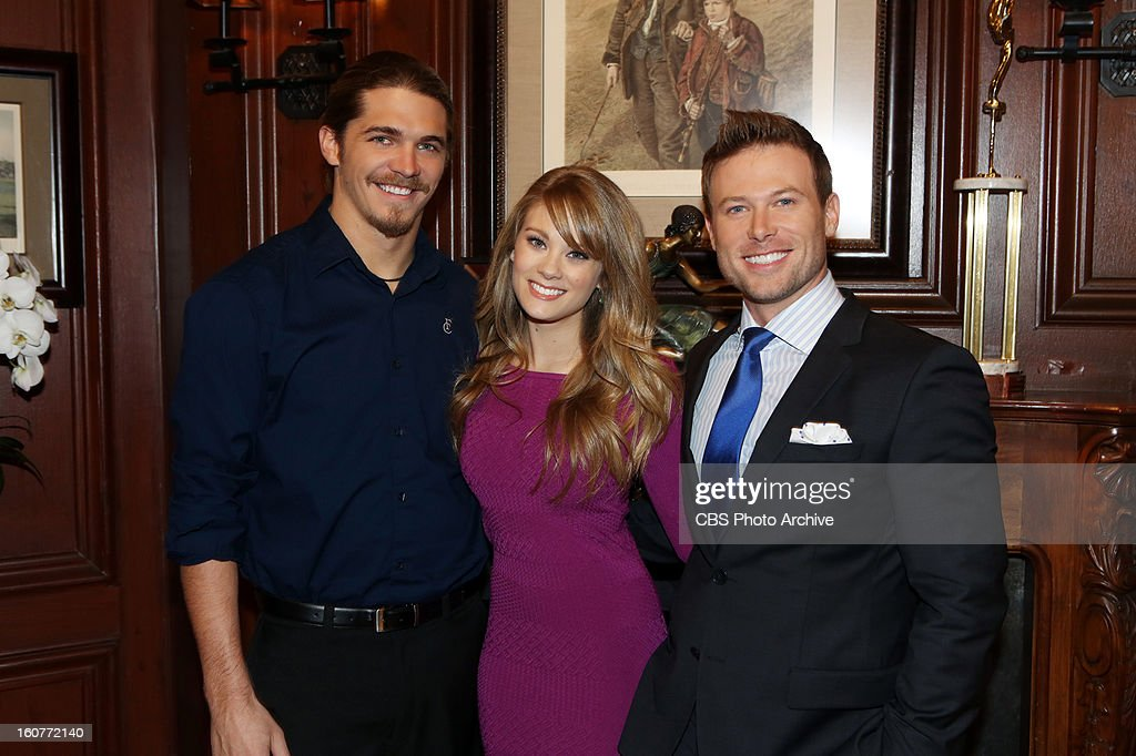 """'Malcolm Freburg' """" Malcolm Freburg (SURVIVOR: CARAMOAN """"- FANS VS. FAVORITES, left,) makes his daytime television debut on THE BOLD AND THE BEAUTIFUL, Wednesday, Feb. 13 on the CBS Television Network. Freburg is pictured with Kim Matula (center, Hope Logan) and Jacob Young (right, Rick Forrester)."""