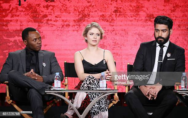 Malcolm Goodwin Rose McIver and Rahul Kohli for the 'iZombie' television show speak onstage during the 2017 Winter TCA Tour Panels CW held at The...