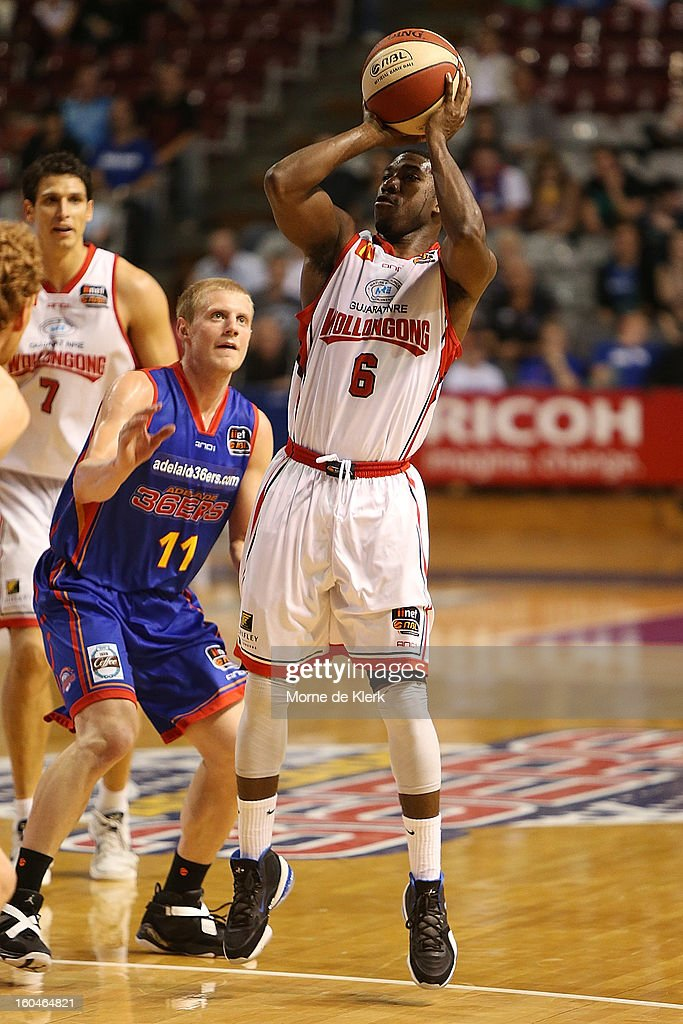 Malcolm Grant of Wollongong shoots for the basket during the round 17 NBL match between the Adelaide 36ers and the Wollongong Hawks at Adelaide Arena on February 1, 2013 in Adelaide, Australia.