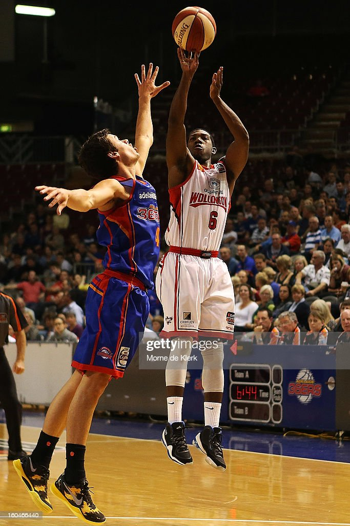 Malcolm Grant of Wollongong shoots the ball during the round 17 NBL match between the Adelaide 36ers and the Wollongong Hawks at Adelaide Arena on February 1, 2013 in Adelaide, Australia.
