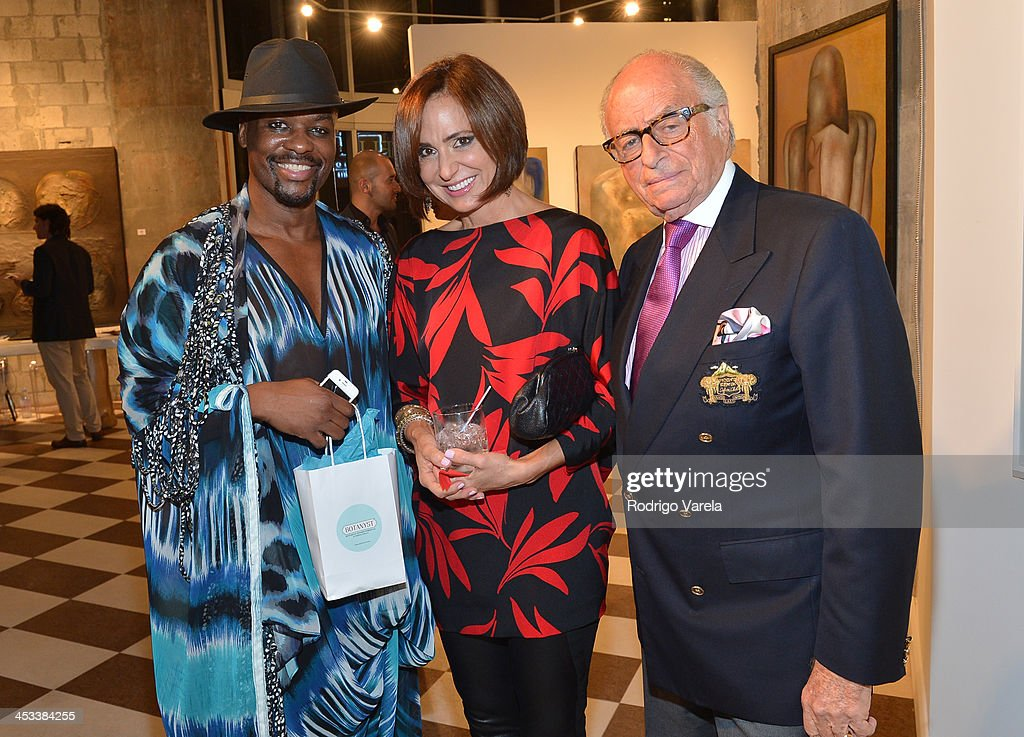 Malcolm Harris, Patricia Shaheen and Bob Shaheen attend the Roman Kriheli Un:veiled Exhibit At Avant Gallery, Featuring The Unveiling Of 'The Most Beautiful Woman In The World' Painting at Epic Hotel on December 3, 2013 in Miami, Florida.