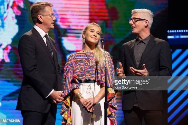 Malcolm Hawker Lauren Daigle and Matt Maher during the 48th Annual GMA Dove Awards in Allen Arena on October 17 2017 in Nashville TN