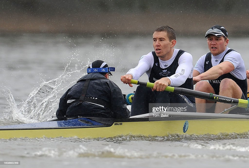 Malcolm Howard (Stroke) and Constantine Louloudis of The Oxford Blue Boat in action during the training race against German Eight on the River Thames on March 17, 2013 in London, England.