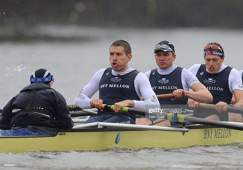Malcolm Howard (Stroke), Constantine Louloudis and Karl Hudspith of The Oxford Blue Boat in action during the training race against German Eight on the River Thames on March 17, 2013 in London, England.