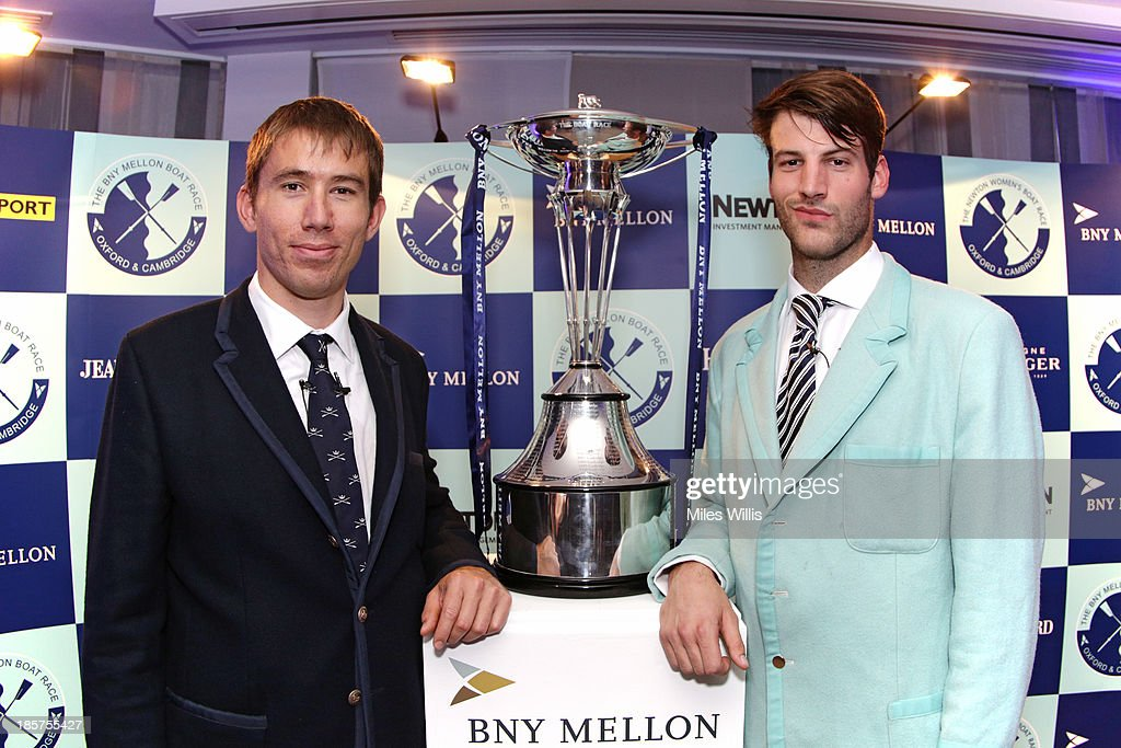 <a gi-track='captionPersonalityLinkClicked' href=/galleries/search?phrase=Malcolm+Howard&family=editorial&specificpeople=2969427 ng-click='$event.stopPropagation()'>Malcolm Howard</a>, President of the Oxford University Boat Club and Steve Dudek, President of the Cambridge University Boat Club pose with The Boat Race Trophy during the BNY Melon University Boat Race Autumn Reception at the BNY Melon offices on 24th October 2013 in London, England.