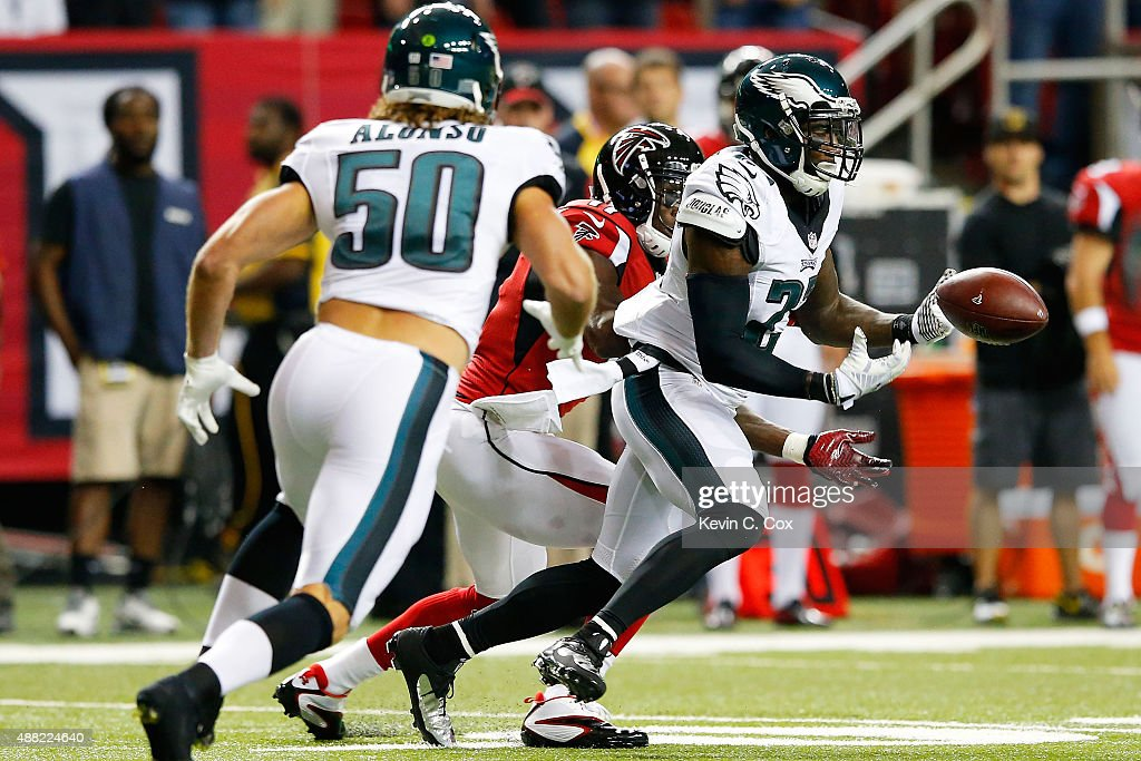 Malcolm Jenkins of the Philadelphia Eagles breaks up a pass intended for Julio Jones of the Atlanta Falcons during the first half at the Georgia Dome...