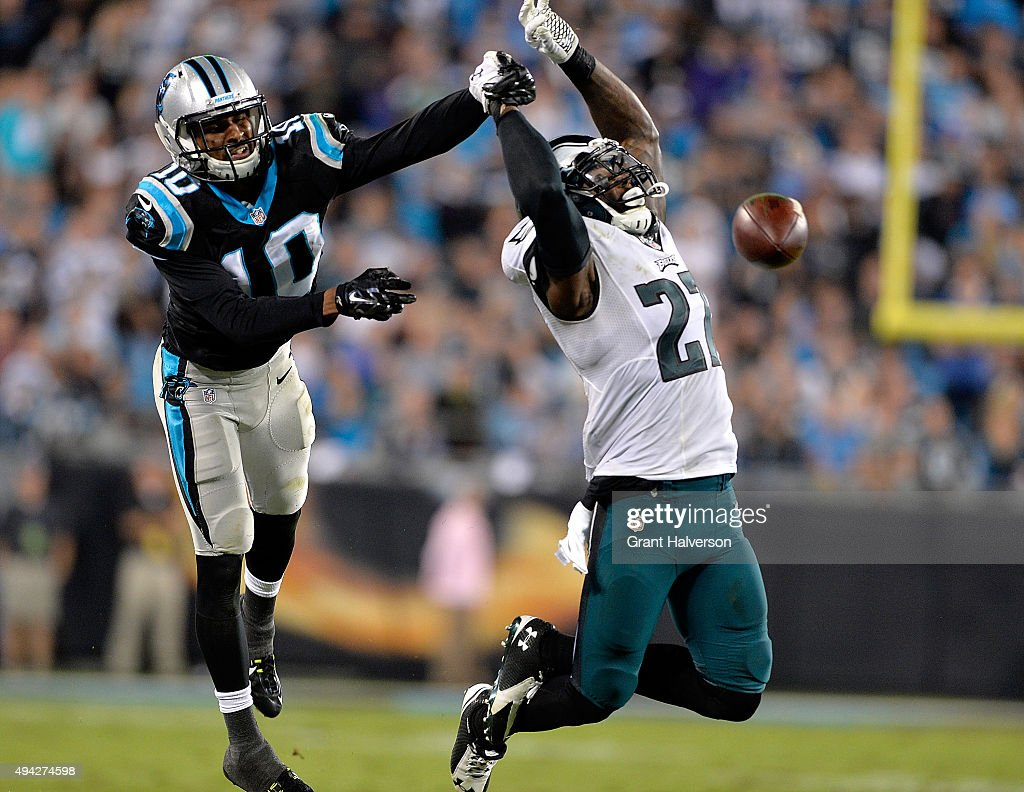 Malcolm Jenkins of the Philadelphia Eagles defends a pass to Corey Brown of the Carolina Panthers during their game at Bank of America Stadium on...