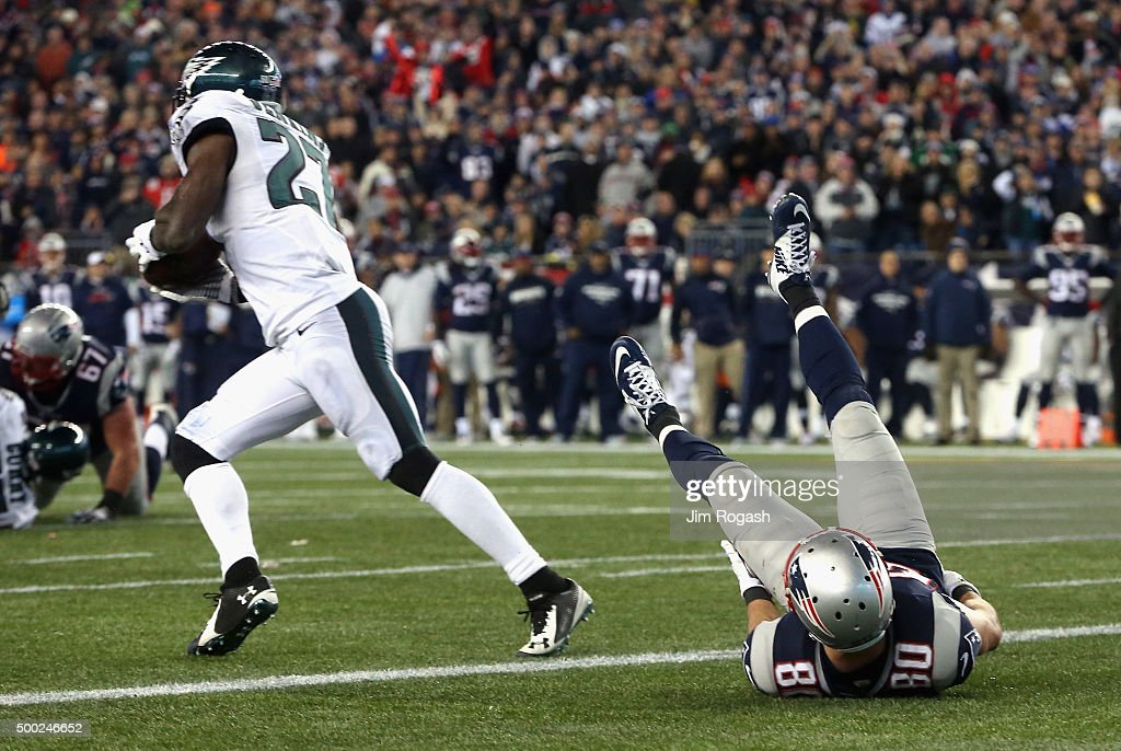 <a gi-track='captionPersonalityLinkClicked' href=/galleries/search?phrase=Malcolm+Jenkins&family=editorial&specificpeople=2726916 ng-click='$event.stopPropagation()'>Malcolm Jenkins</a> #27 of the Philadelphia Eagles intercepts a pass intended for <a gi-track='captionPersonalityLinkClicked' href=/galleries/search?phrase=Danny+Amendola&family=editorial&specificpeople=2194309 ng-click='$event.stopPropagation()'>Danny Amendola</a> #80 of the New England Patriots and returns it for a touchdown during the third quarter at Gillette Stadium on December 6, 2015 in Foxboro, Massachusetts.