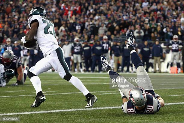 Malcolm Jenkins of the Philadelphia Eagles intercepts a pass intended for Danny Amendola of the New England Patriots and returns it for a touchdown...