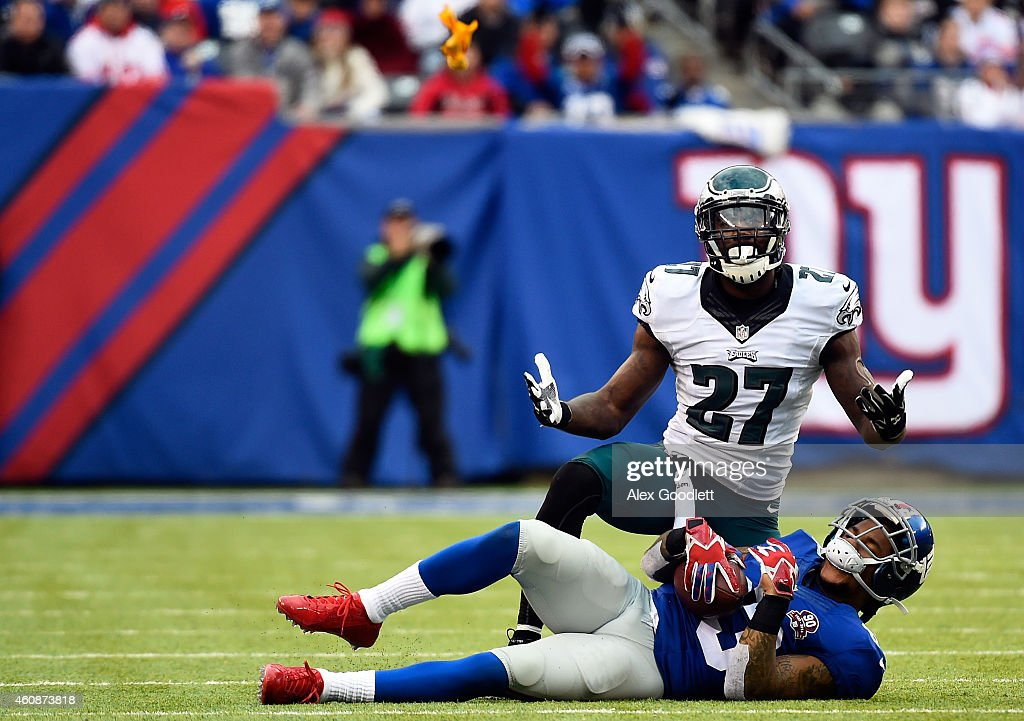 Malcolm Jenkins of the Philadelphia Eagles reacts after being called for a facemask against Preston Parker of the New York Giants during a game at...
