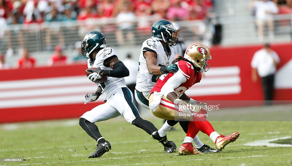 Malcolm Jenkins of the Philadelphia Eagles returns an interception during the game against the San Francisco 49ers at Levi Stadium on September 28...