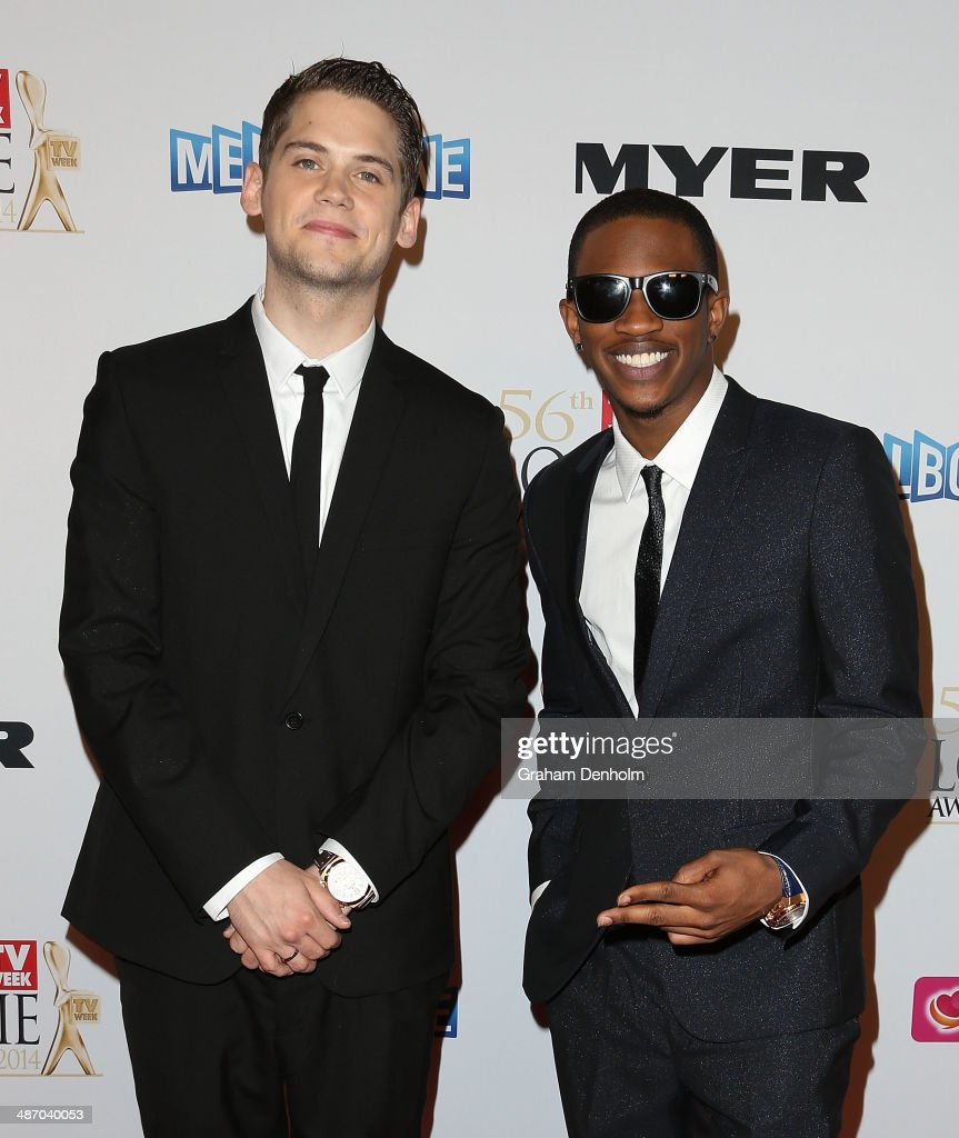 Malcolm Kelley and <a gi-track='captionPersonalityLinkClicked' href=/galleries/search?phrase=Tony+Oller&family=editorial&specificpeople=5443516 ng-click='$event.stopPropagation()'>Tony Oller</a> from MKTO arrive at the 2014 Logie Awards at Crown Palladium on April 27, 2014 in Melbourne, Australia.
