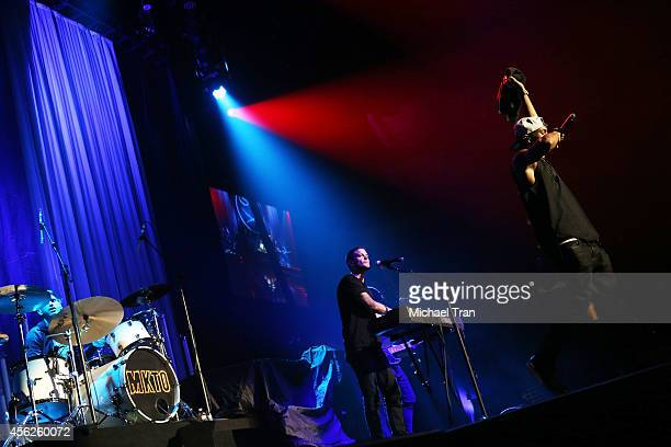 Malcolm Kelley and Tony Oller of MKTO perform onstage during the DEMI World Tour held at Staples Center on September 27 2014 in Los Angeles California
