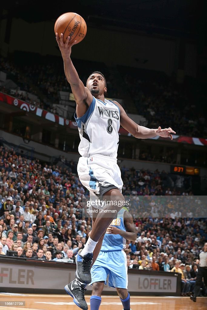 Malcolm Lee #8 of the Minnesota Timberwolves goes to the basket during the game between the Minnesota Timberwolves and the Denver Nuggets on November 21, 2012 at Target Center in Minneapolis, Minnesota.