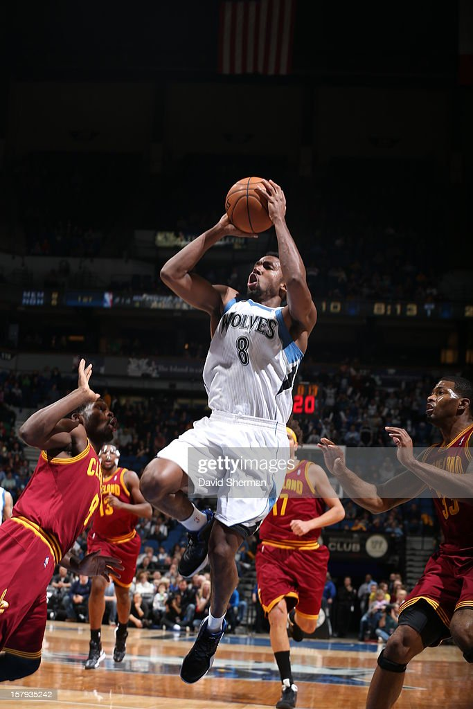 Malcolm Lee #8 of the Minnesota Timberwolves goes up for a shot against the Cleveland Cavaliers during the game on December 7, 2012 at Target Center in Minneapolis, Minnesota.