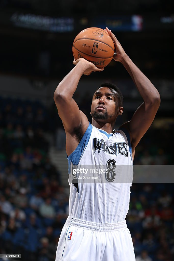 Malcolm Lee #8 of the Minnesota Timberwolves takes a foul shot against the Cleveland Cavaliers during the game on December 7, 2012 at Target Center in Minneapolis, Minnesota.