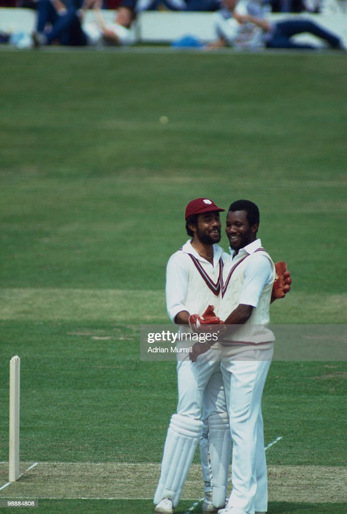 Malcolm Marshall and Jeff Dujon of the West Indies during the Prudential World Cup final against India at Lords London June 1983