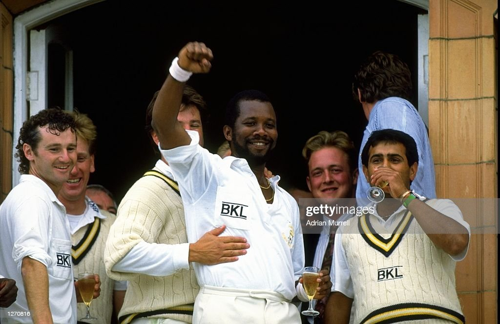 Malcolm Marshall of Hampshire celebrates after their victory in the Benson and Hedges final against Kent at Lord's in London Mandatory Credit Adrian...