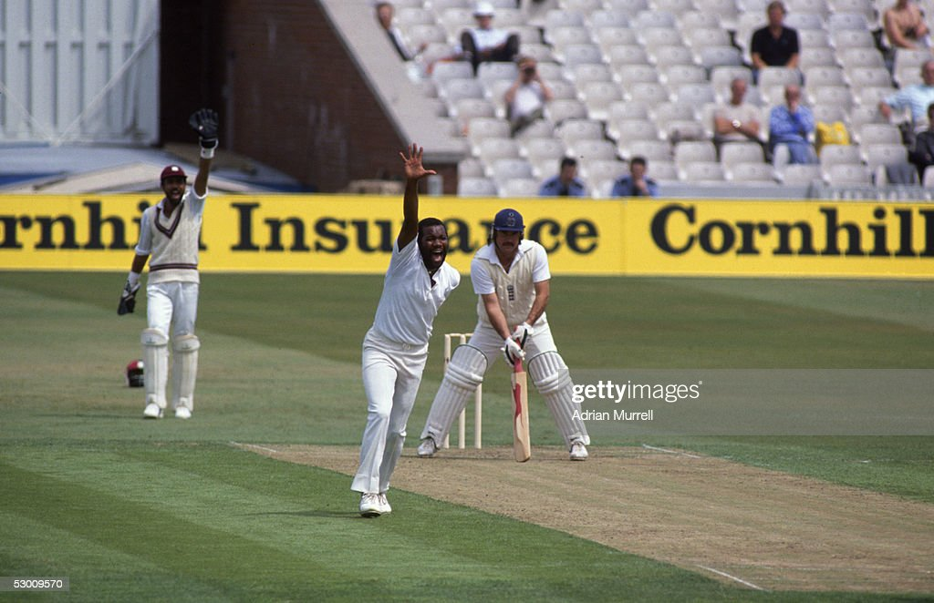 Malcolm Marshall of the West Indies appeals for the wicket of Allan Lamb of England during the Third Test Match between England and the West Indies...