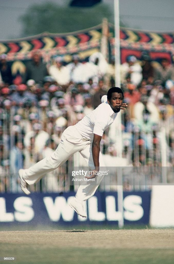 Malcolm Marshall of the West Indies comes in to bowl during a Test match Mandatory Credit Adrian Murrell /Allsport