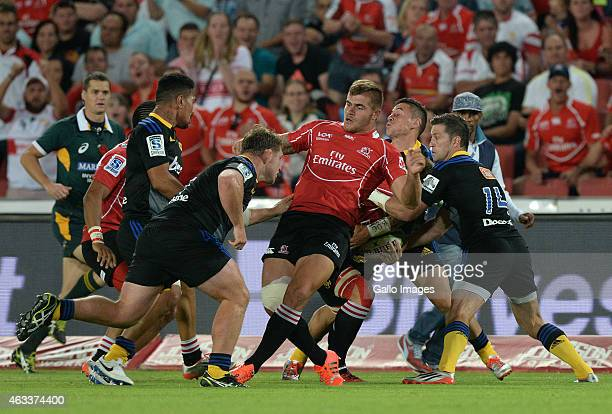 Malcolm Marx of the Lions gets in the way during the Super Rugby match between Emirates Lions and Hurricanes at Emirates Airline Park on February 13...