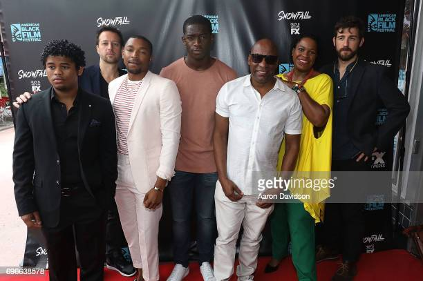 Malcolm Mays Dave Andron Isaiah John Damson Idris John Singleton Michael Hyatt and Carter Hudson attend 2017 American Black Film Festival on June 16...