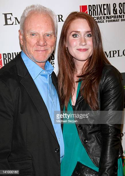 Malcolm McDowell and Paige Howard attend 'The Employer' Los Angeles Screening at Regent Showcase Theatre on March 6 2012 in West Hollywood California