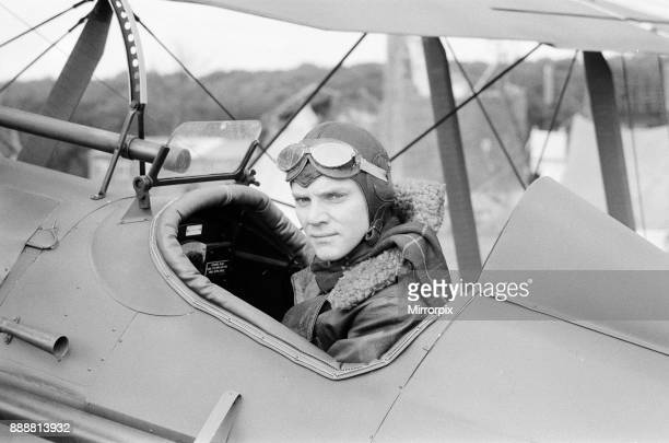 Malcolm McDowell on the set of 'Aces High' the story of the Royal Flying Corps currently being shot at Booker Airfield near High Wycombe 8th...