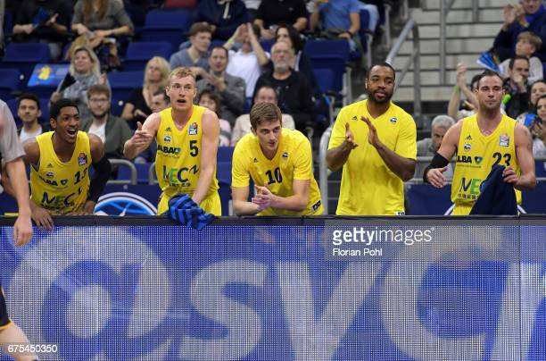 Malcolm Miller Niels Giffey Tim Schneider Jonathan Malu and Carl English of Alba Berlin during the game between Alba Berlin and MHP Riesen...