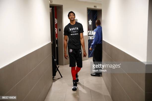 Malcolm Miller of the Toronto Raptors arrives before the game against the Chicago Bulls on October 19 2017 at the Air Canada Centre in Toronto...