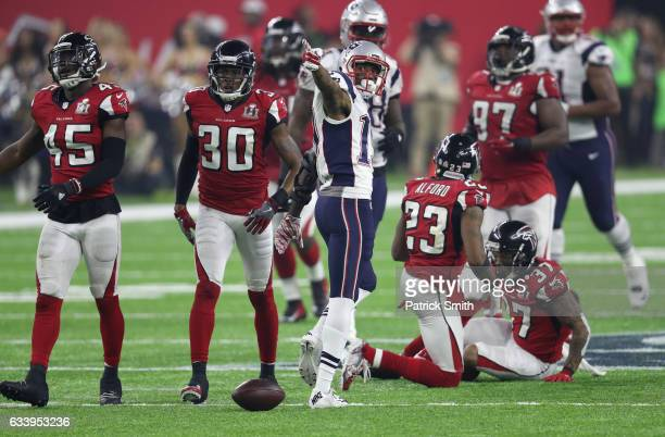Malcolm Mitchell of the New England Patriots reacts during the fourth quarter against the Atlanta Falcons during Super Bowl 51 at NRG Stadium on...