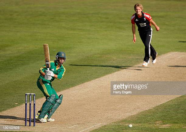 Malcolm Nofal of South Africa hits out off the bowling of Adam Ball of England during the one day international match between England under 19 and...